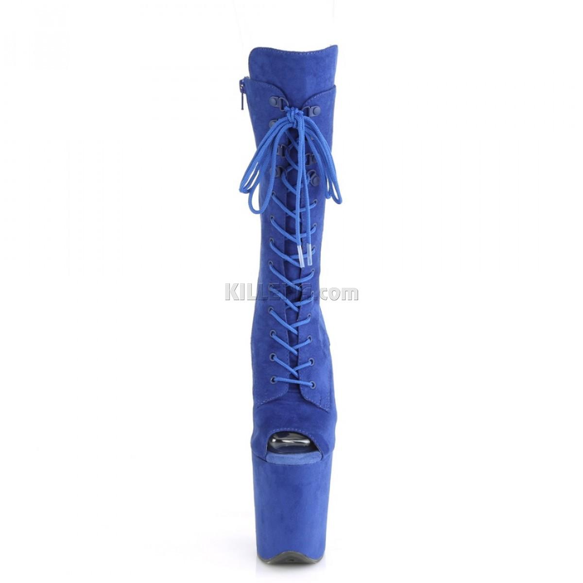 Высокие синие ботиночки с открытым носком