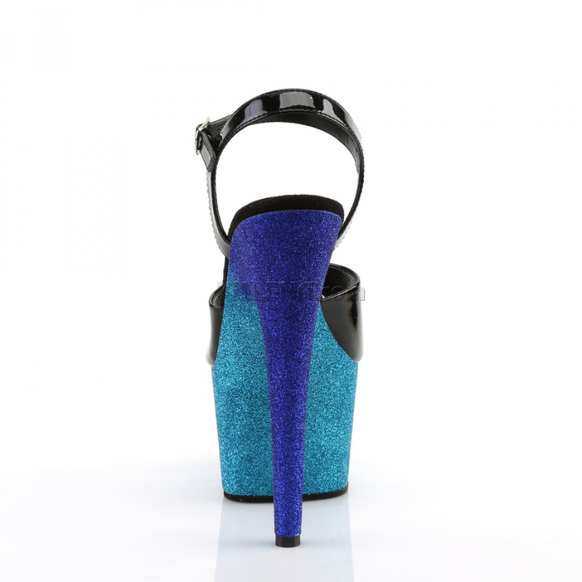 Стрип-босоножки двойки с омбре из сине-голубых блёсток