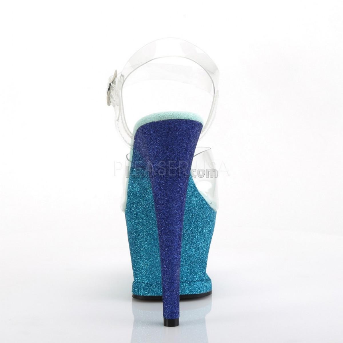 Стрипы с вырезом в платформе покрыты сине-голубым омбре глиттером