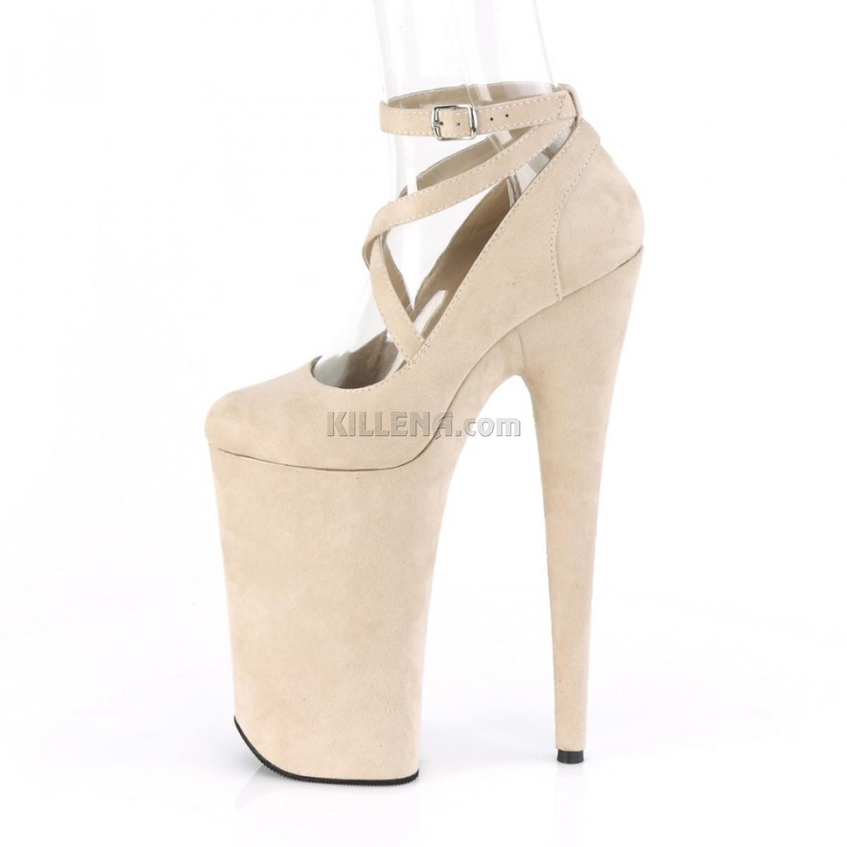 Бежевые замшевые высокие туфли Beyond с перекрещивающимися лямками
