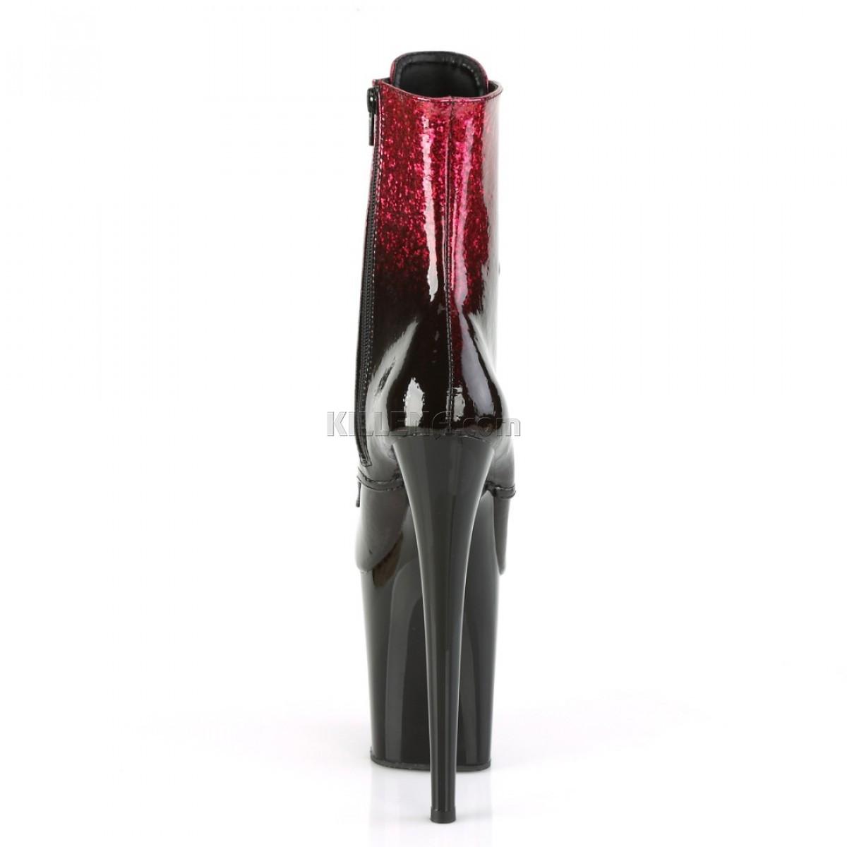 Лаковые ботинки с розово-черным омбре