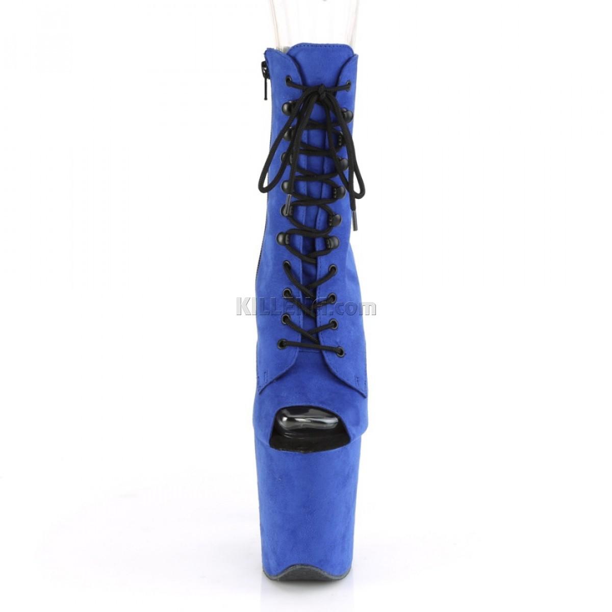 Синие замшевые ботинки с открытым носком