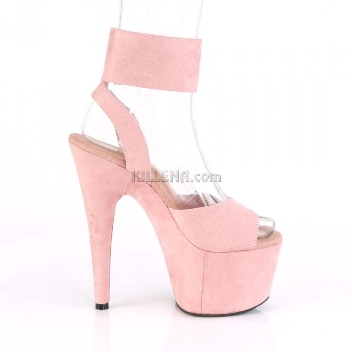Замшевые розовые босоножки с открытой пяткой и широким ремешком