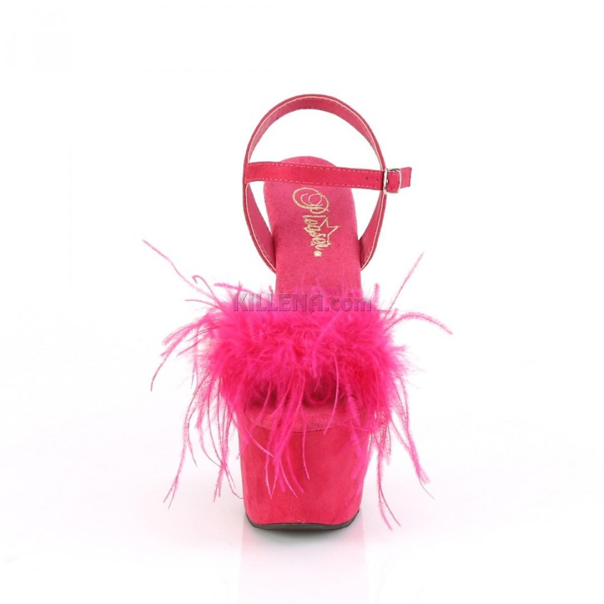 Ярко-розовые замшевые двойки ,верх с отстегивающимся  декором из перьев марабу