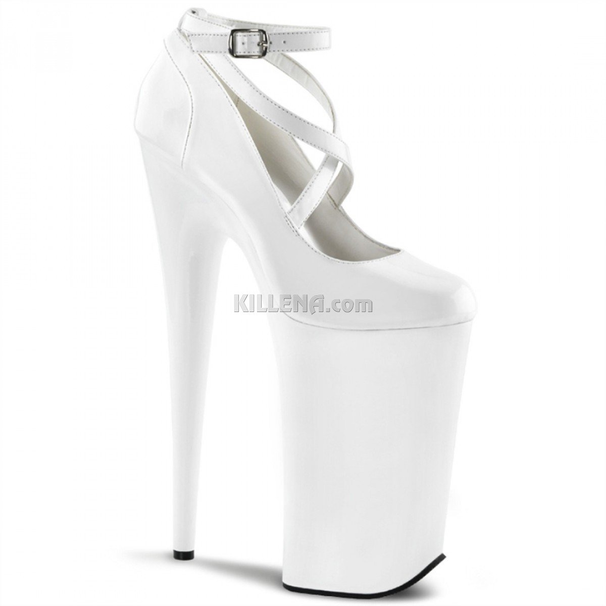 Белые лакированные высокие туфли Beyond с переплетами