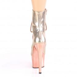 Стрип ботинки с зеркальной платформой цвета розового золота