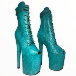 Ботиночки для танцев на пилоне из тиснёного кож зама под рептилию