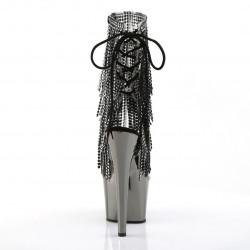Ботинки двойки с хромированной платформой и бахромой из страз