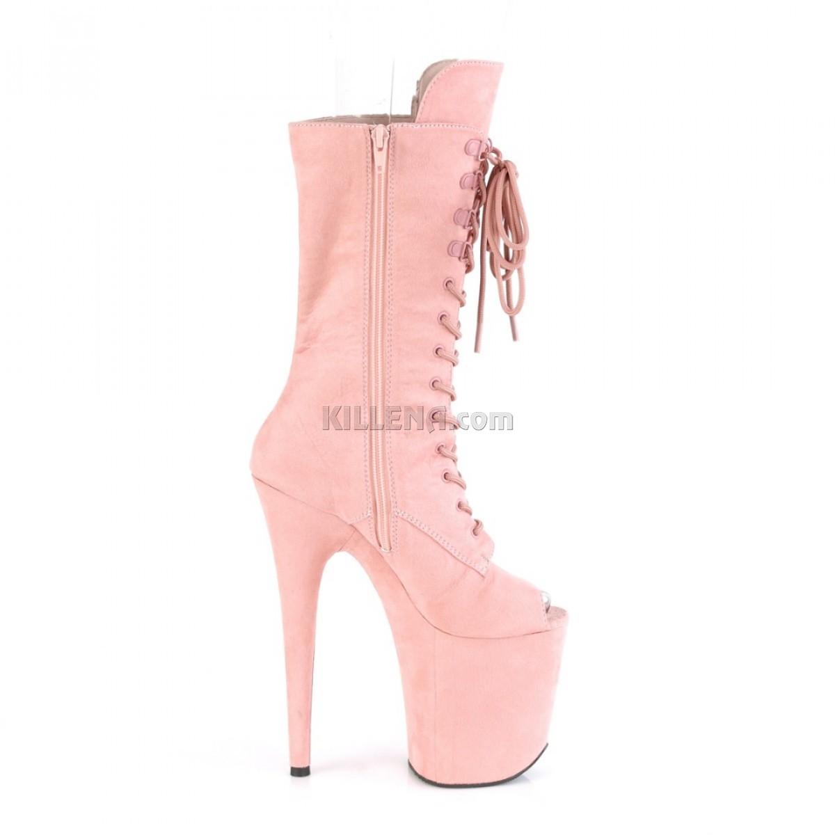 Высокие нежно-розовые ботиночки с открытым носком