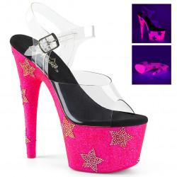 Розовые босоножки с звездами из страз на платформе