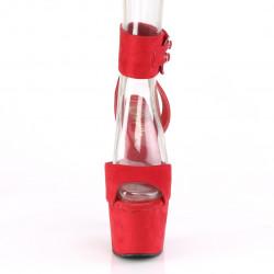 Замшевые красные босоножки с открытой пяткой и широким ремешком