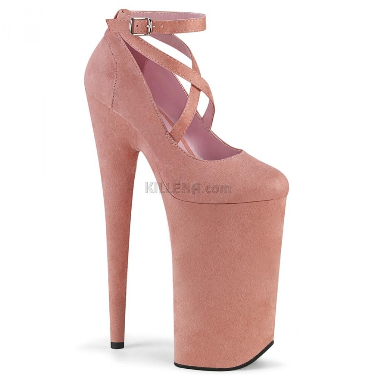Нежно-розовые замшевые высокие туфли Beyond с перекрещивающимися лямками