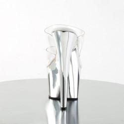 Хромированные серебристые шлепанцы, с силиконовыми двойными шлейками