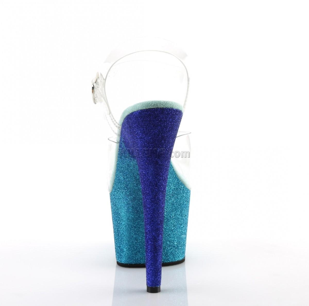 Стрипы с платформой омбре покрытой блёстками сине-бирюзового цвета