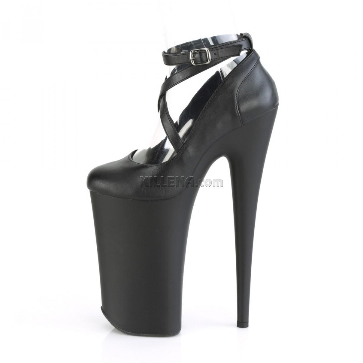 Матовые чёрные высокие туфли Beyond с переплетами