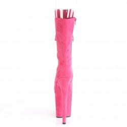 Высокие ярко-розовые ботиночки с открытым носком