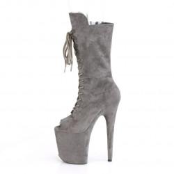 Высокие серые ботиночки с открытым носком
