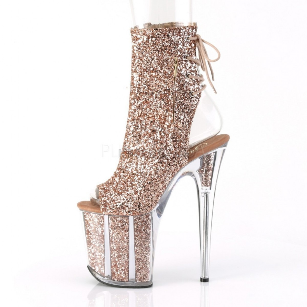 Открытые ботинки покрыты бронзовыми блестками