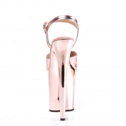 Зеркальные босоножки тройки цвета розовое золото