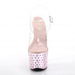 Зеркальные розовые босоножки украшены конусными камнями