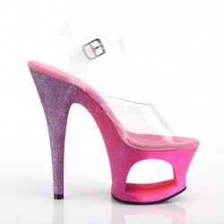 Стрипы с вырезом в платформе покрыты розово-фиолетовым омбре глиттером