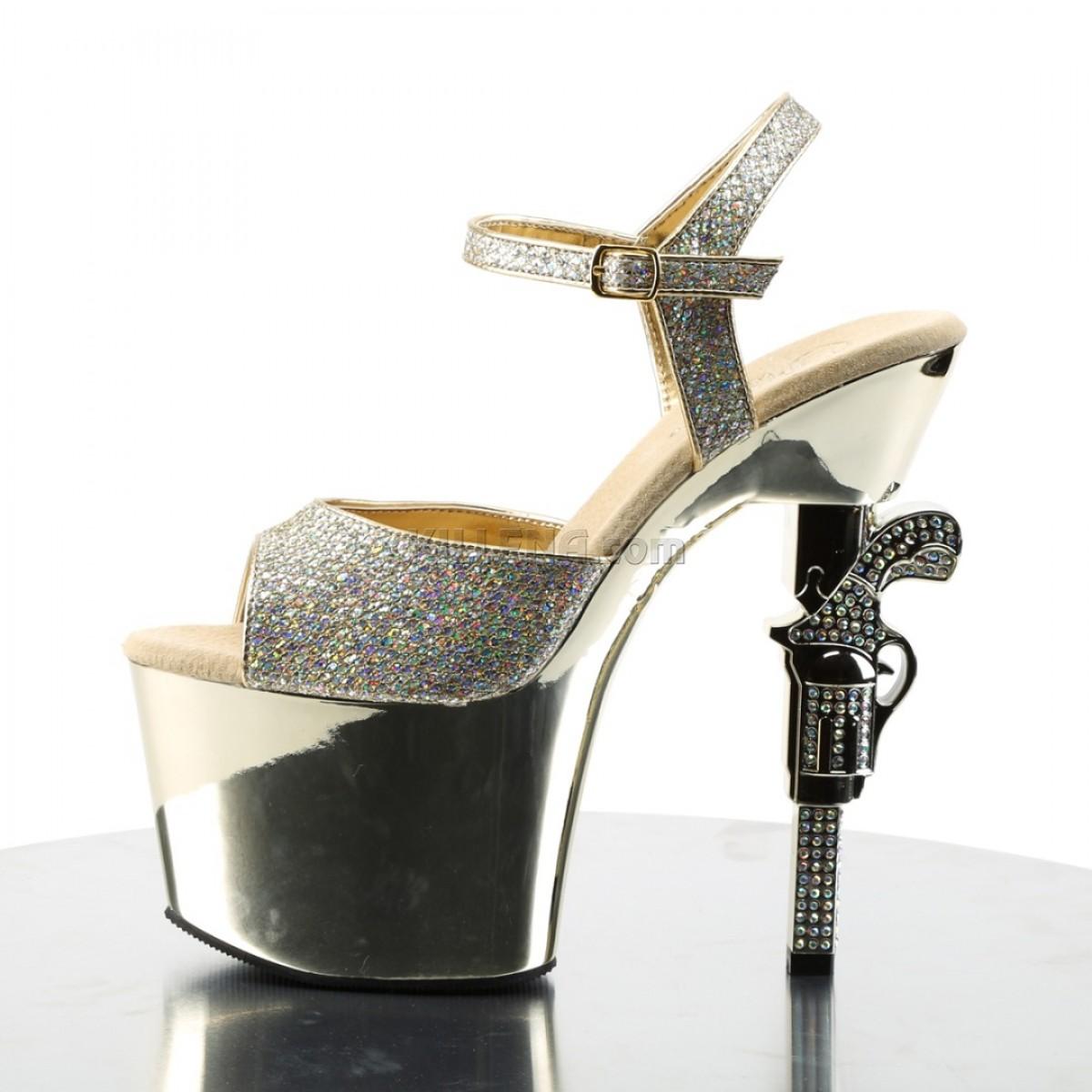 Зеркальные стрип-босоножки с каблуком в виде револьвера