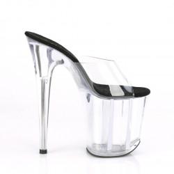 Прозрачные шлепанцы с силиконовым  верхом и черной стелькой