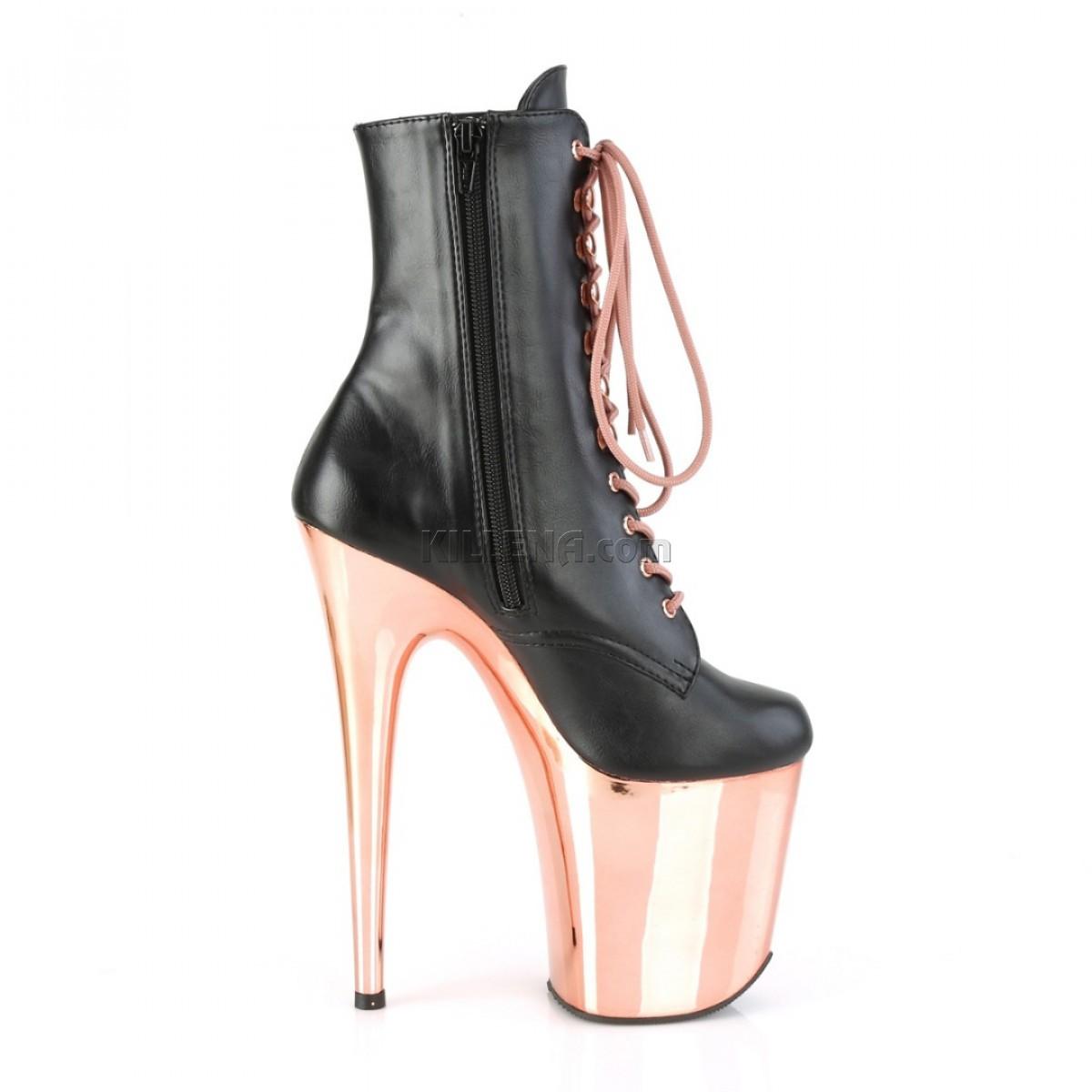 """Ботинки из эко кожи с хромированной платформой цвета """"rose gold"""""""
