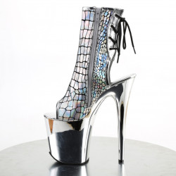 Ботинки-тройки с зеркальной платформой и голографическим верхом