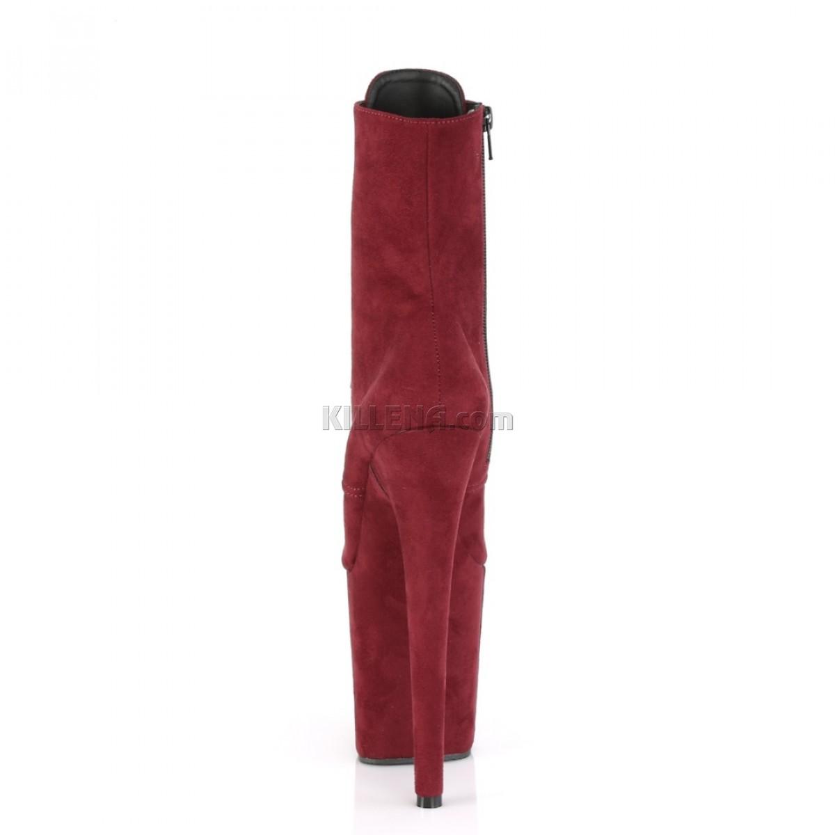 Замшевые бордовые ботинки-тройки с закрытым носком и пяткой
