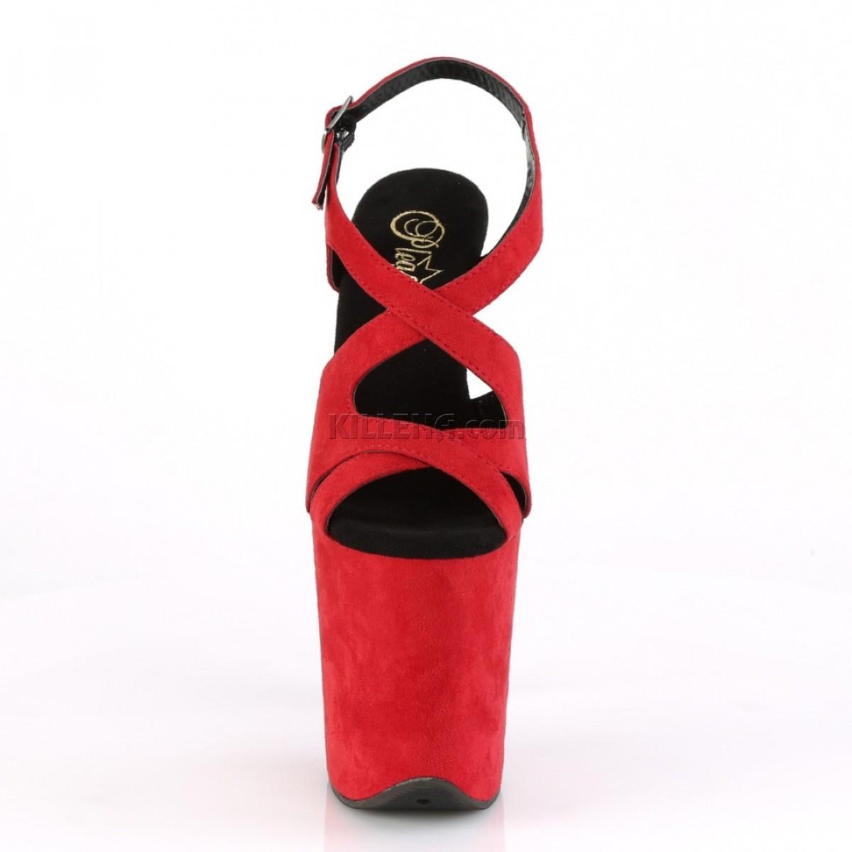 Красные замшевые босоножки с переплетами