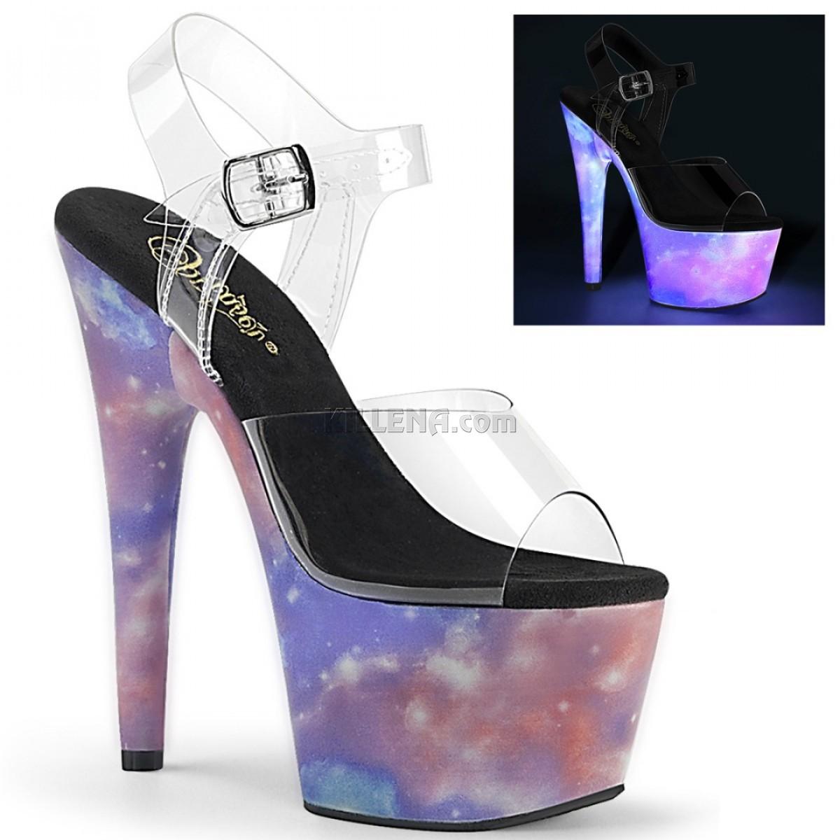 Люминесцентные босоножки-двойки с космическим принтом