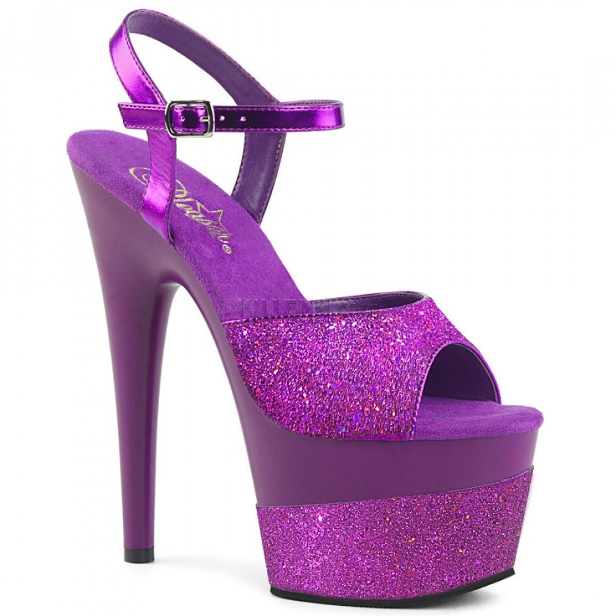 Фиолетовые босоножки с верхом и нижней частью платформы покрытыми глиттером